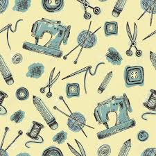 Seamless Pattern With Sewing Supplies In Doodle Style Vintage