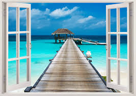 tropical beach with bungalow wall sticker 3d window island