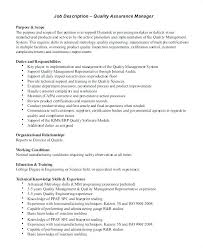 It Operations Manager Job Description Manufacturing Sample Quality Assurance