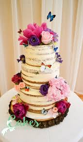 Rustic Naked Cake With Fresh Flowers And Sugar Butterflies Cakesbycarrieanne