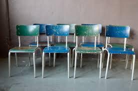 industrielle esszimmerstühle in blau grün 1970er 4er set