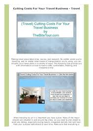 Cutting Costs For Your Travel Business
