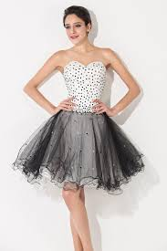 sweetheart white and black mini homecoming dress lace up organza