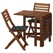 Runnen Floor Decking Outdoor Brown Stained by äpplarö Table 2 Folding Chairs Outdoor Brown Stained Hållö Black