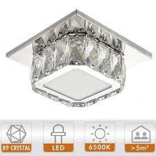 Ganeed Modern LED Ceiling Light79Inch Stainless Steel K9 Crystal Flush Mount Lights FixtureMini Square Chandelier Ceiling Lamp For Dining Room