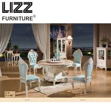 Marble Dining Table Room Furniture Set Royal Antique Style Muebels Round Chesterfield Leather