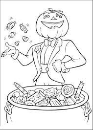 Download Print Jack O Lantern And Halloween Candy Coloring Pages