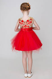 Chinese Red Vintage Inspired Flower Girl Ballgown