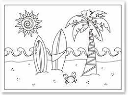 Coloring Pages Printable Tree Coconut Free Summer Sun Spiral Shining Board Waves Crab Sand Here
