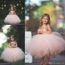 Rose Gold Sequins Blush Tutu Flower Girls Dresses 2018 Puffy Skirt Full Length Little Toddler Infant Wedding Party Communion Forml Dress From