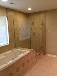 custom shower with clear glass frame less shower door columbia