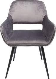 kare design san francisco armlehnstuhl armlehnenstuhl esszimmerstuhl loungestuhl edler stuhl mit armlehnen samt grau h b t 82x58 5x61cm