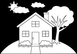 Line Art Of A Little Hill House Clipart