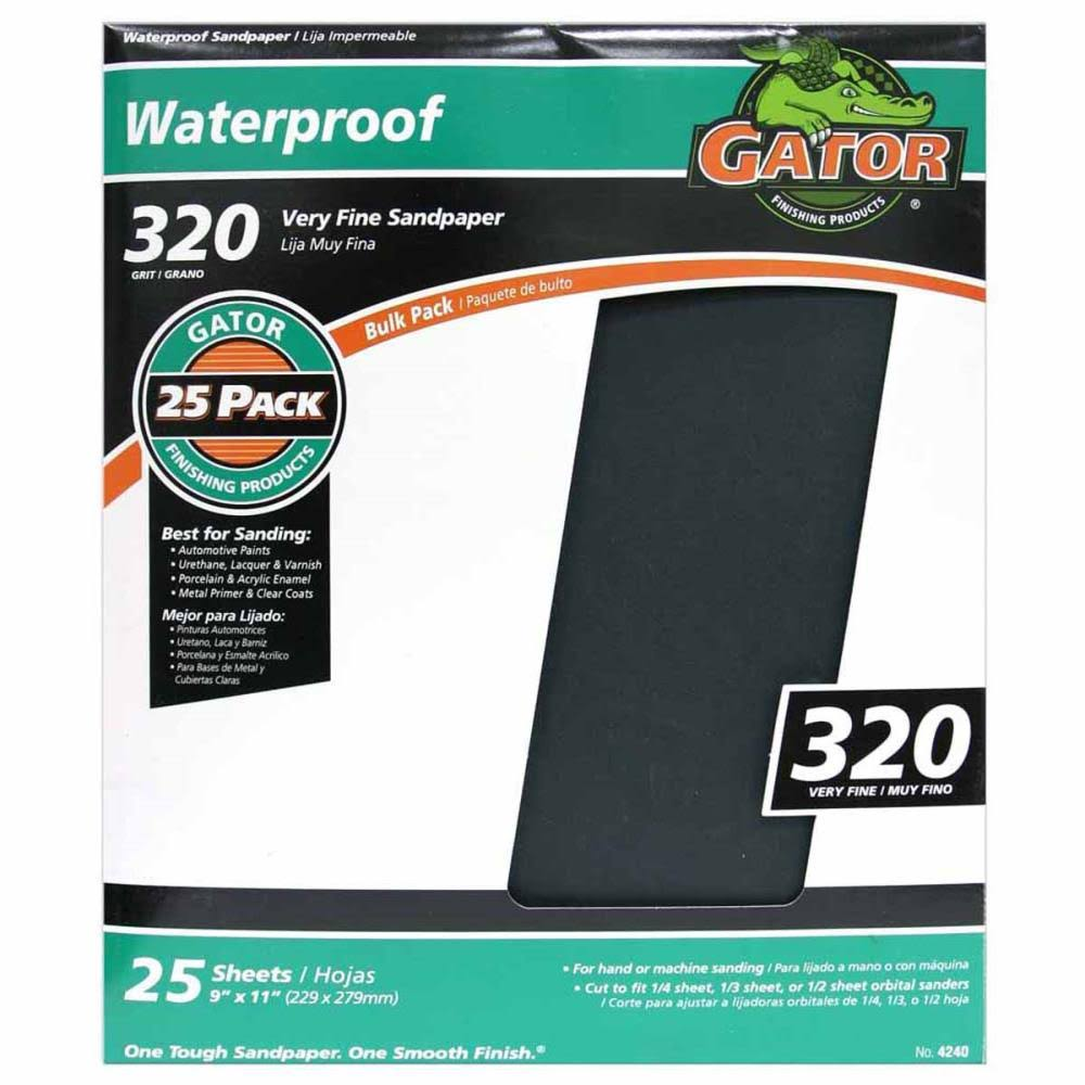 "GatorGrit Silicone Carbide Resin Sandpaper - 9"" x 11"", 25 Sheets"