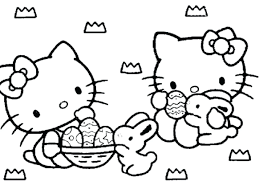 Hello Kitty Coloring Pages Christmas Free Print Easter Printable And Bunny Happy Page Cartoon Animal