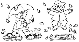 Playing In The Rain Kids Coloring Pages
