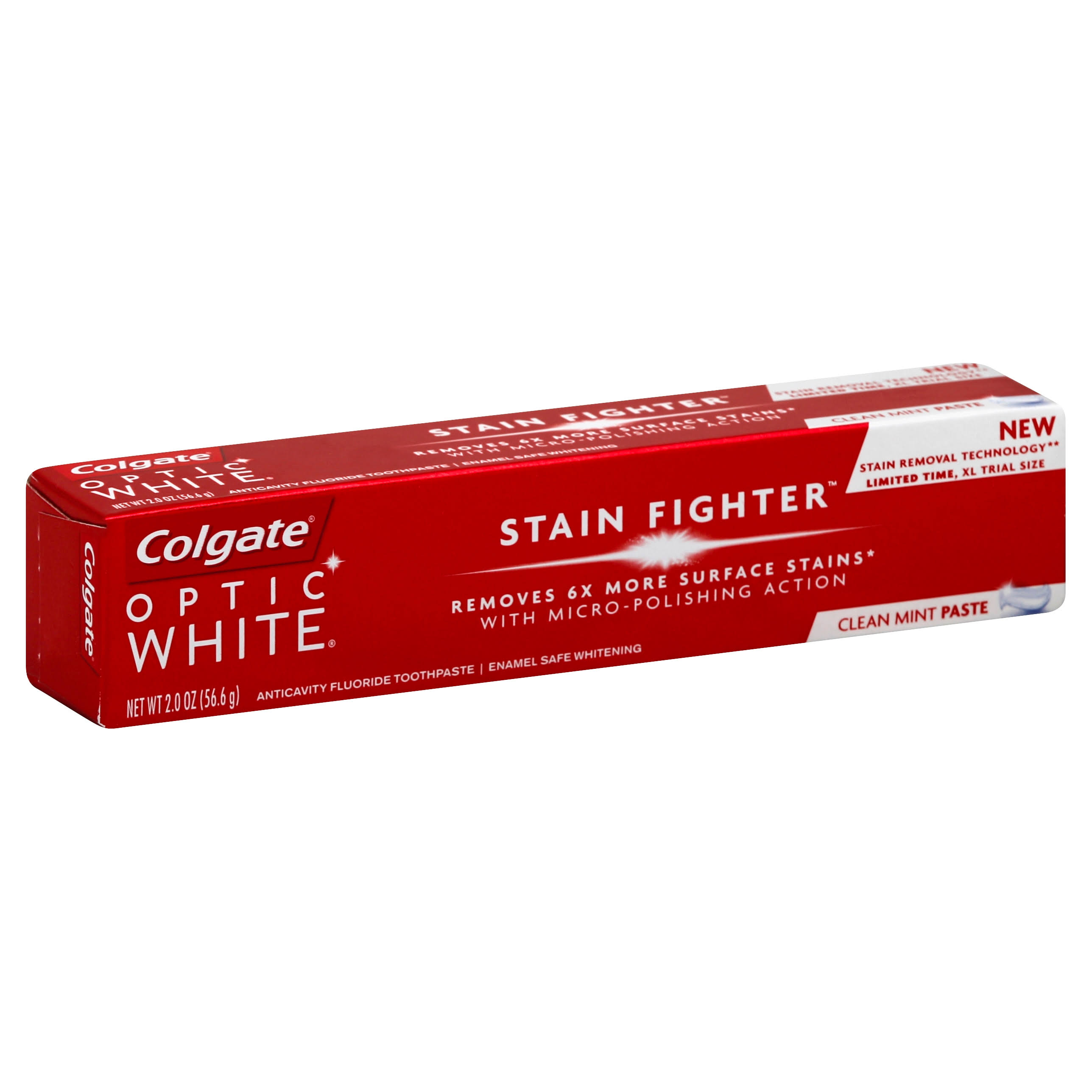 Colgate Optic White Toothpaste, Stain Fighter, Clean Mint Paste - 2.0 oz