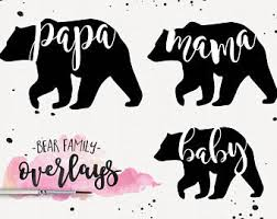 Bear Family Clipart Overlays Mama Papa Baby Graphic Design Boutique