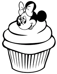 Cute Minnie Mouse Cupcake Coloring Page