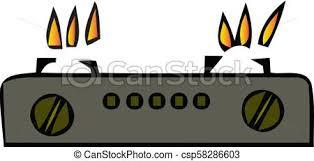 Natural Gas Burner Flame On Black Stove Vector Illustration