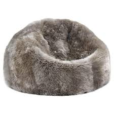 Shiloh Modern Pebble Long Wool Sheepskin Fur Beanbag