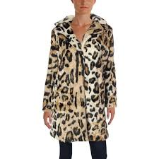 Cupcakes And Cashmere Womens Faux Fur Coat Winter Leopard Print