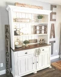 Classic Whitewashed Country Kitchen Hutch On Dining Room Storage
