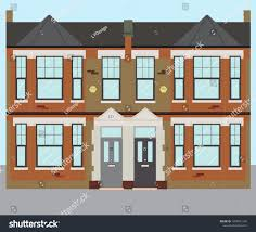 100 Victorian Property Typical UK Terraced London Houses Stock Vector Royalty