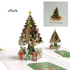 Amazoncom Fusolo 3D Pop Up Christmas Cards Christmas Tree