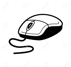 Vector Black puter Mouse White Background Stock