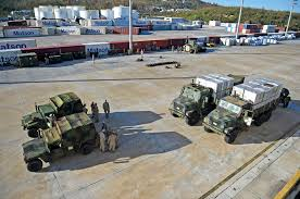 100 7 Ton Military Truck US Marines Ready Humvees And Ton Trucks At Saipan Harbor