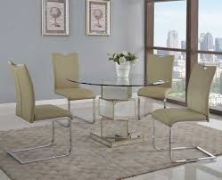 Ortanique Round Glass Dining Room Set by Mirrored Glass Dining Table