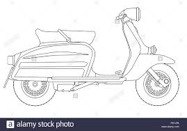 A Typical 1960 Style Motor Scooter In Outline Drawing Over White