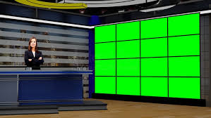 News 038 TV Studio Set Virtual Green Screen Background PSD