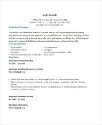 Assistant Teacher Resume Examples Pre School