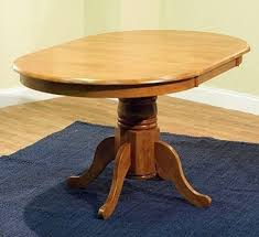Round Oval Dining Room Table W Leaf Oak Country Farmhouse Pedestal Kitchen Wood