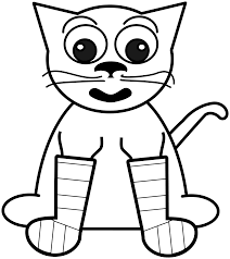 Cat In Rainbow Socks Bw Black White Line Art Christmas Xmas Stuffed Animal Coloring Book Colouring 2555px 381K