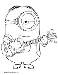 In This Beautiful Picture Stuart Is Playing Guitar Print And Color Free Minions Coloring Pages
