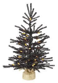 2 X 15 Pre Lit Black Pistol Pine Artificial Christmas Tree In Burlap Base