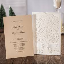 Jofanza Rustic Laser Cut Wedding Invitations Set Of 50pcs Ivory Invitation Cards With Kraft Insert For Engagement Baby Shower Birthday Quinceanera