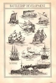 Vintage Book Plate Battleship Development Black And White Boat Ship Galley Print
