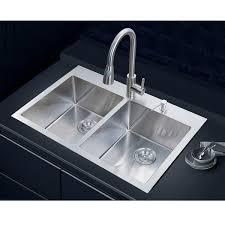 Overstock Stainless Steel Kitchen Sinks by Nationalware Overmount Stainless Steel 33 In 2 Hole Double Bowl