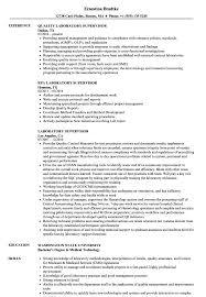Laboratory Supervisor Resume Samples