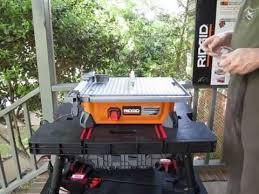 keter work table and ridgid jobsite tile saw
