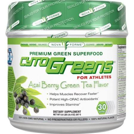 NovaForme CytoGreens for Athletes Supplement - Acai Berry Green Tea Flavor, 0.6lbs