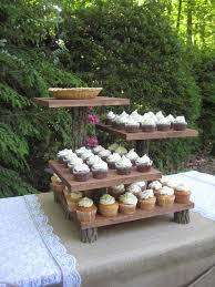 Rustic Wedding Cake Stand Mini Cupcake Dessert Server Log Slice Natural 4 Tier