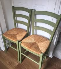 100 Dining Chairs Painted Wood 2 X Olive Green En Wicker Seats Ideal