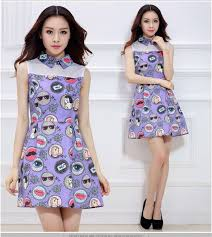 2015 New Woman Printing Dress Slim Sleeveless Vintage Style Lovely Women Clothing Casual Dresses Vestido