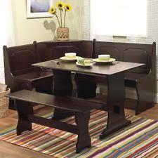 Corner Nook Dining Set Breakfast Kitchen Brown Espresso 3 Pce Booth Table Bench