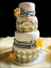 Beautiful Yellow And Grey Wedding Cake Styles Ideas